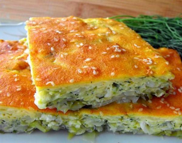 Оригинальный быстрый пирог на кефире с капустой – просто порезал, залил и все готово