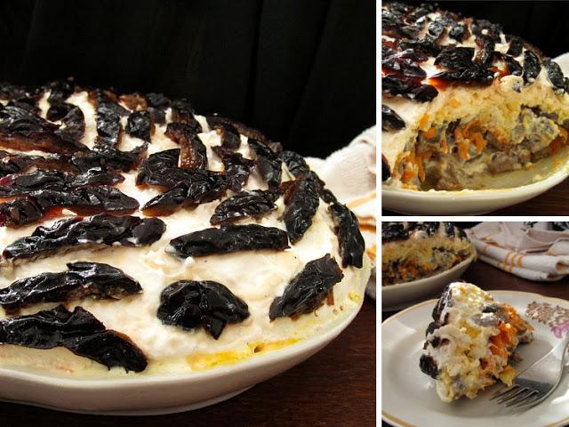 Полезный и сытный слоеный салат с грибами, черносливом, печенью – готовим без майонеза