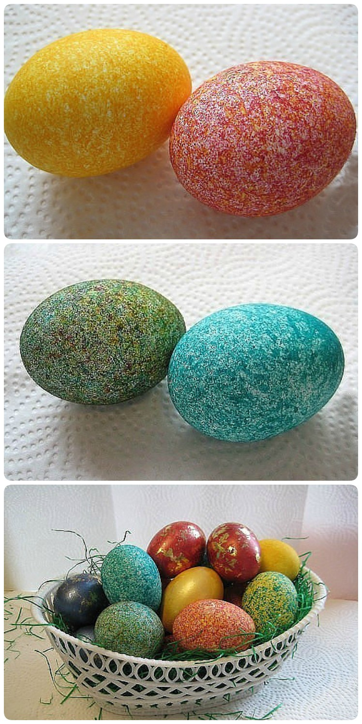 Красим яйца рисом и получаем необычный эффект: несколько минут и красота готова